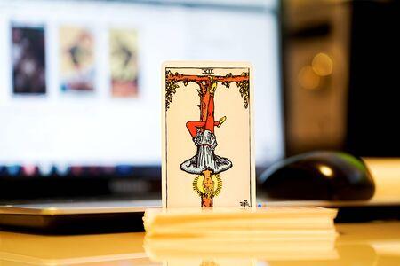 Defocused edtorial illustrative editorial tarot cards.