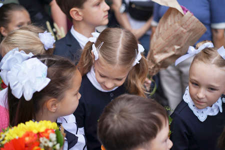 Blurred View of the children go to school for the first time. High quality photo