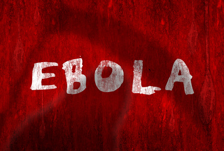 critical conditions: Ebola writing in white on red painted wall with shadoe of grim reaper