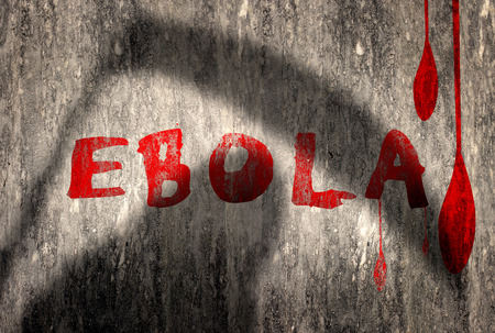 critical conditions: Rwd Ebola text on grungy wall with running blood Stock Photo