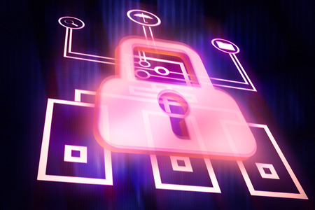 digital image: Digital image of padlock icon over  network drawing