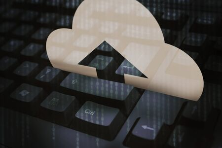 electronic background: Digital image of cloud icon with arrow on dark keyboard