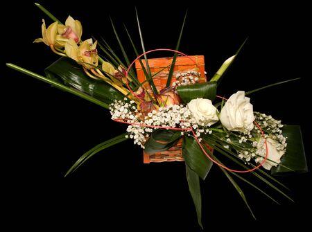 ikebana: Ikebana with clipping path on black background