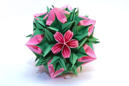 Colorfull origami unit like a rose and thorns photo