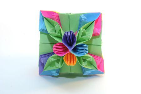 Colorfull origami unit colorful cube flower isolated on white background photo