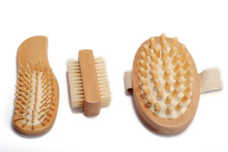 repertoire: Bath anti-cellulitis spa massage kit with comb, hairbrush, brush isolated on white background. With  shadow.