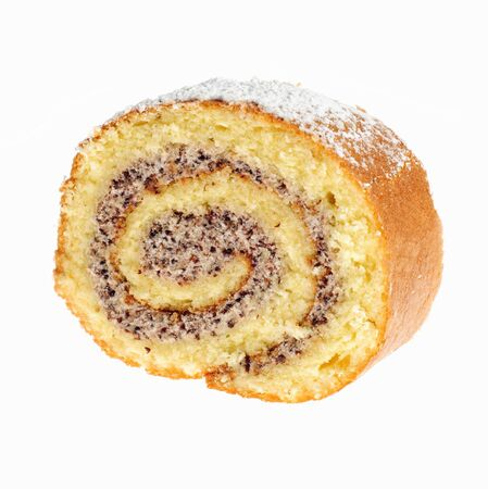 swiss roll: Papaverous swiss roll cake isoleted on white background