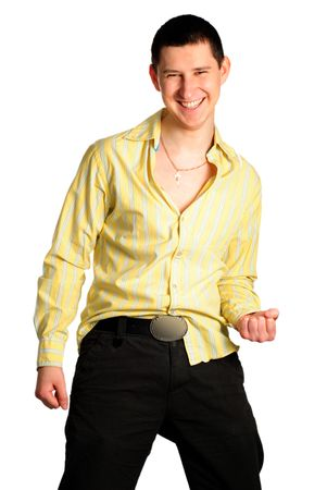 careless: Cool young funny boy isolated on white. Cheerful and careless with many light on he. Stock Photo