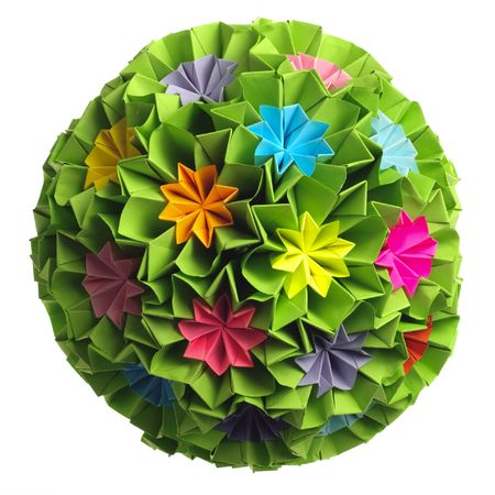 colorfull: Colorfull origami kusudama from rainbow flowers isolated on white