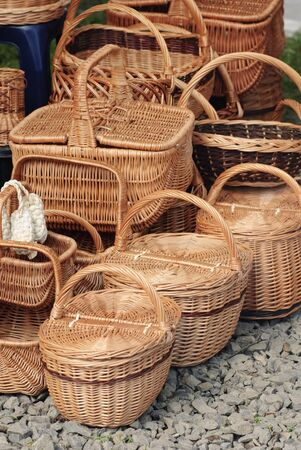 spliced: Basketry market on nature. Green field background.