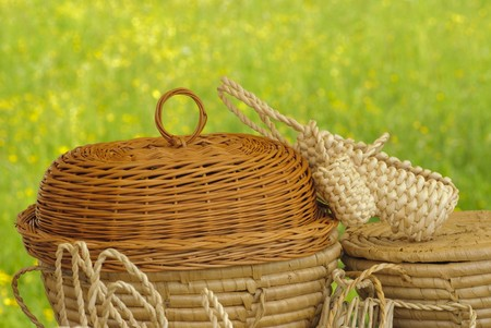 basketry: Basketry market on nature. Green field background.