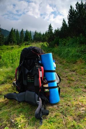 Prapared rucksack wait for traveller to hiking