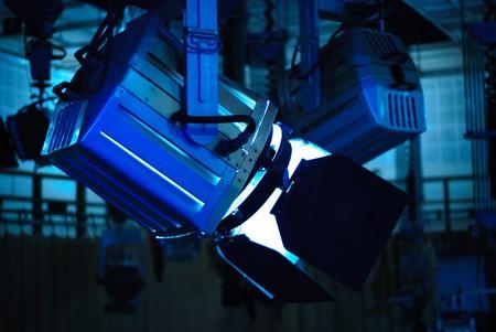 studio lighting: Spot light in television studio on ceiling
