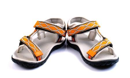sandals isolated: Sport orange sandals isolated on white background Stock Photo