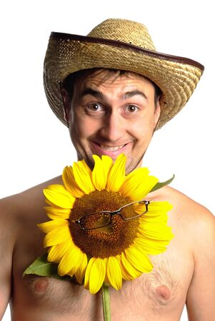 stetson: Funny fermer in stetson with sunflower in glasses isolated on white
