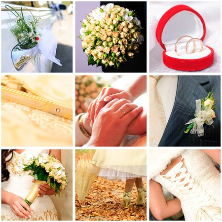 Collage with bridegroom and bride in different situations  Stock Photo - 8032812