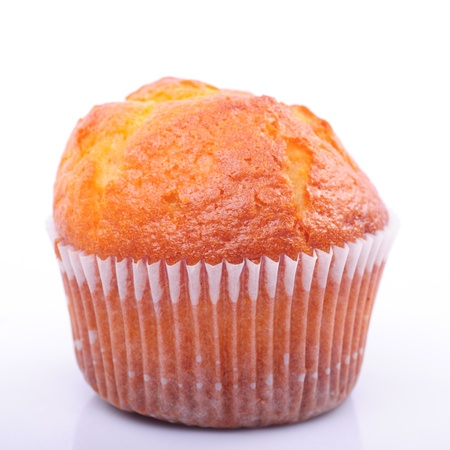 One fresh muffin isolated on white background Stock Photo - 8294852