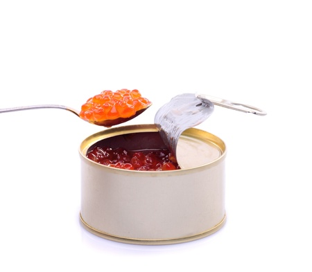 Red caviar in metal can isolated on whiate background photo
