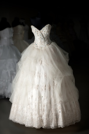 Wedding dress shop with many objects photo