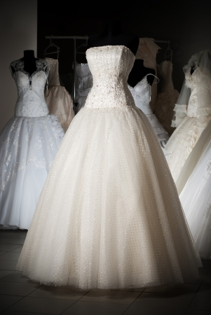 bridal gown: Wedding dress shop with many objects Stock Photo