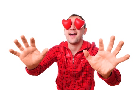 """Man with red heart-shapes instead of eyes isolated on white. Concept """"love is blind"""" Stock Photo"""