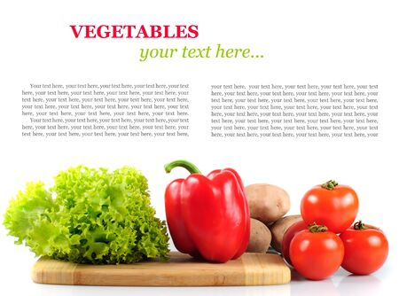 Vegetables in kitchen for salad, isolated on white. With copy text photo