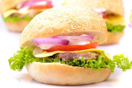 homemade hamburgers isolated on white background photo