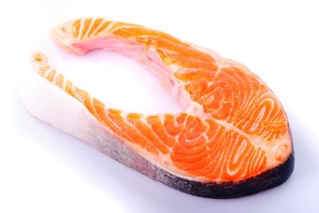 Salmon steak isolated on white background Stock Photo - 8751675