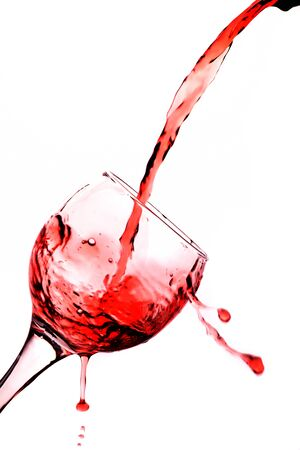 One glass with red wine isolated on white backround photo
