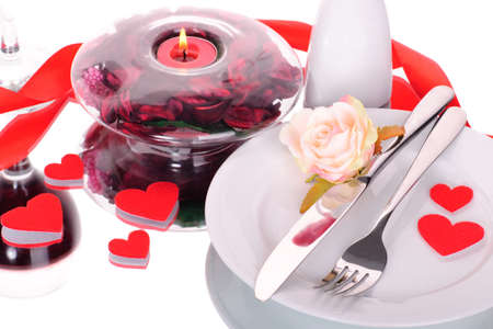 light meal: Valentines dinner waitnig for couple, present and candle included Stock Photo