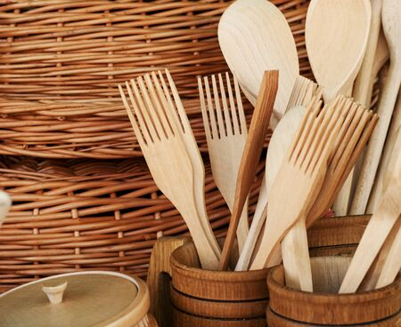 Wooden tools on the table in market on nature. photo