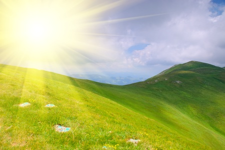 Beautiful blue sky and green hills high up in Carpathian mountains Stock Photo - 8948287
