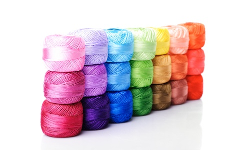 silk thread: color thread heap isolated on white  Stock Photo