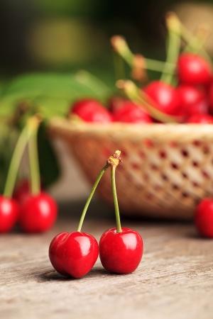 Sweet cherries in basket outdoor