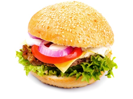 homemade hamburger isolated on white background photo