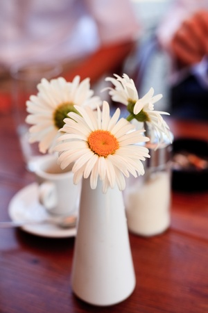 Cafe decoration on wooden table outdoor photo