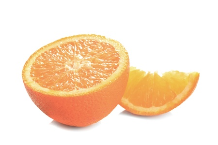 orange's parts isolated on white, prepared for juice Stock Photo - 9800880