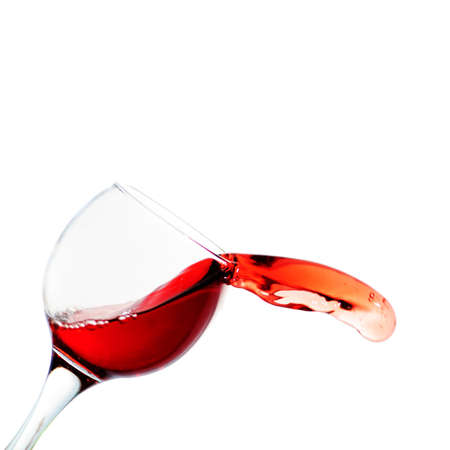 botle: One glass with red wine isolated on white backround