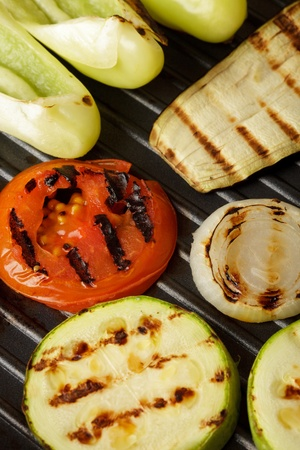 Grilled vegetables on pan close-up photo