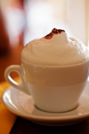 Cappuccino cup with high strong foam close up Stock Photo - 10093149