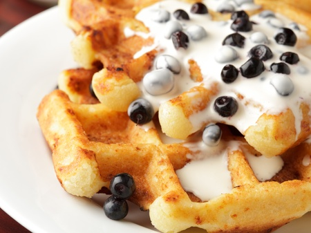Taste waffle with natural yoghurt and billberies closeup photo