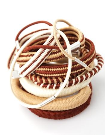 Various elastic band isolated on white background photo