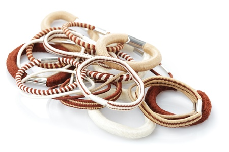 Various elastic band isolated on white background Stock Photo - 10093353