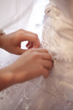 Wedding lacing with hands close up Stock Photo - 10224190