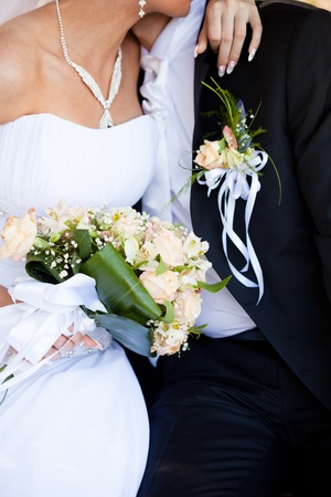 wedding day: Wedding bouquet from peach-coloured roses and buds Stock Photo