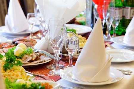Restaurants table prepared for celebrating event photo