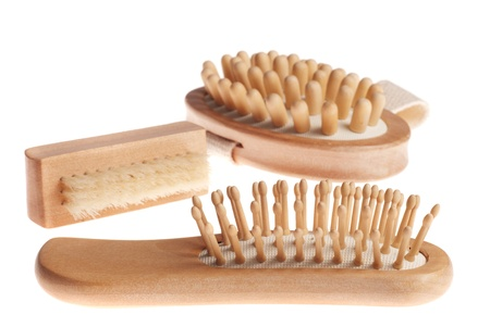 Bath anti-cellulitis spa massage kit with comb, brush and hairbrush isolated on white background. Stock Photo - 10309282