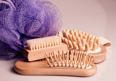 Bath anti-cellulitis spa massage kit with comb, brush and hairbrush. Stock Photo - 10309311