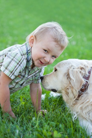 Cute toddler blonde boy with golden retriever hugging close up photo