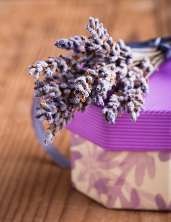 Lavender bunch on the wooden table closeup photo